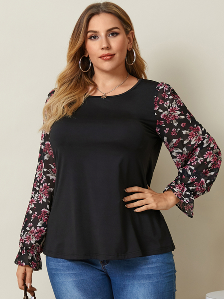 YOINS Plus Size Round Neck Floral Print Long Sleeves Tee