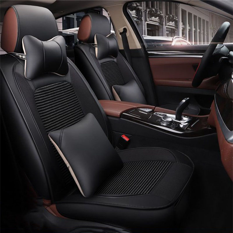 Classic Black Blocking Red Graceful Universal Leather Car Seat Cover