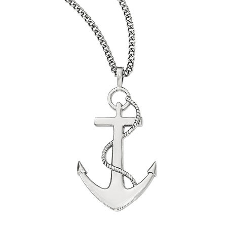 Mens Stainless Steel Anchor Mariner Cross Pendant, One Size , No Color Family