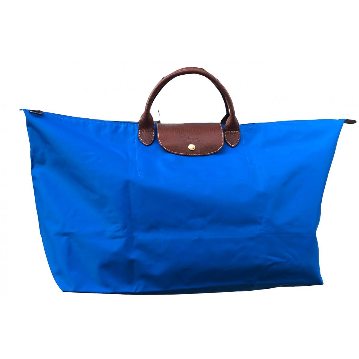 Longchamp Pliage  Handtasche in  Blau Leinen