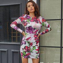 Eilly Bazar Kleid mit Reissverschluss hinten und Blumen Muster