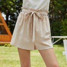 Self Tie Paper Bag Waist Shorts