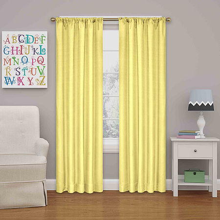 Eclipse Kendall Rod-Pocket Thermal Blackout Curtain Panel, One Size , Yellow