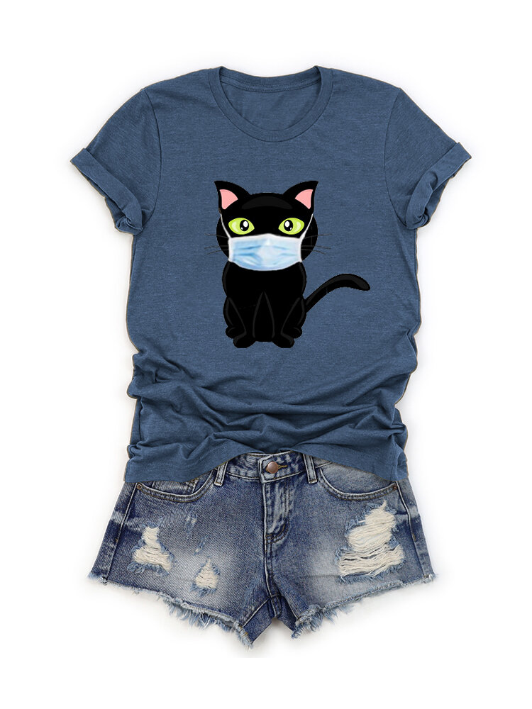 Cartoon Cat Printed Short Sleeve O-Neck T-shirt For Women