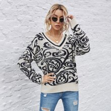 Ribbed Knit Graphic Print Sweater