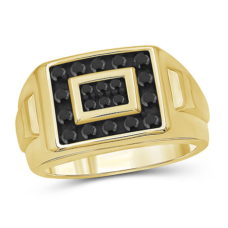 Mens 1/2 CT. T.W. Genuine Black Diamond 14K Gold Over Silver Ring, 9 , No Color Family