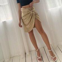 D&M Twist Front Asymmetrical Hem PU Leather Skirt