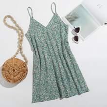 Double V Neck Ditsy Floral Cami Dress