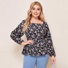 Bluse mit Blumen Muster, quadratischem Kragen und Rueschen