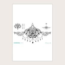 1 Blatt Tattoo Aufkleber mit Blumen Muster
