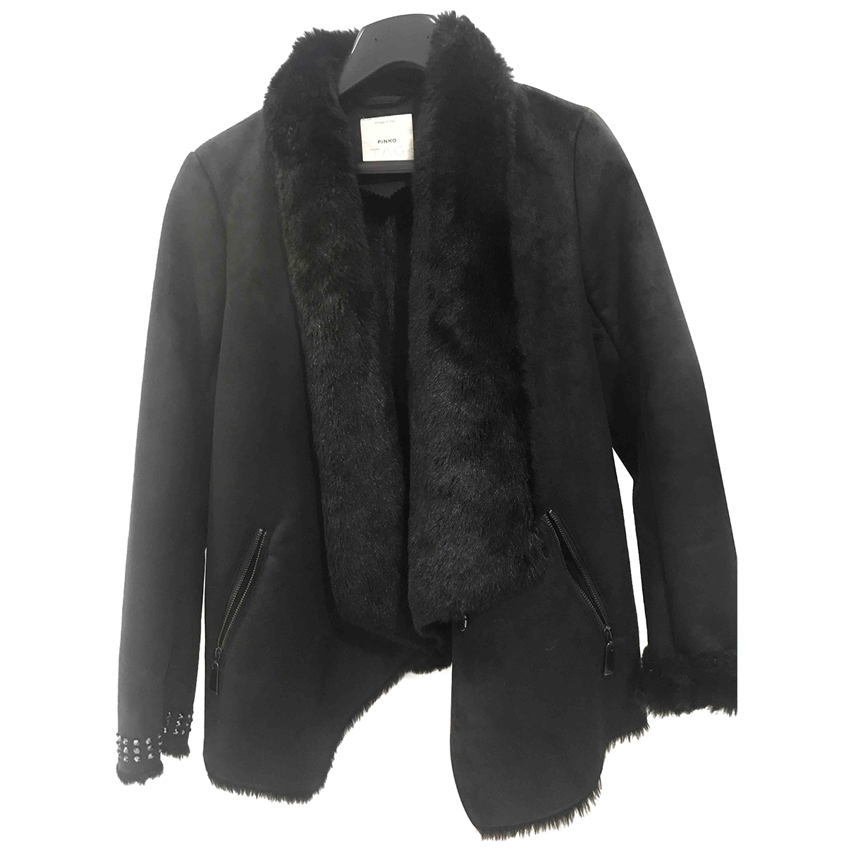 Pinko \N Black Suede coat for Women 42 IT