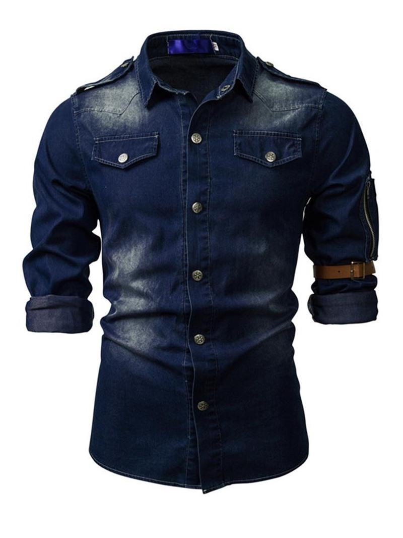 Ericdress Casual Button Color Block Slim Men's Shirt
