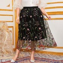Plus Botanical Embroidered Mesh Overlay Skirt