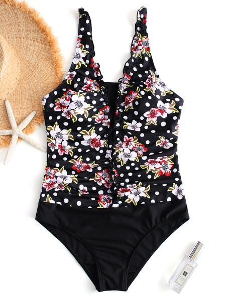 Yoins Black Random Floral Print V-neck Middle-waisted Swimwear