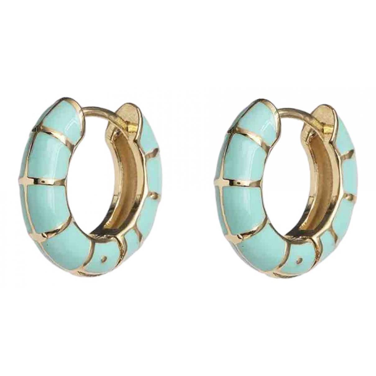 - Boucles doreilles Creoles pour femme en metal - turquoise