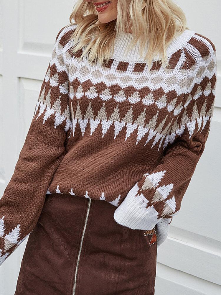 Geometric Printed O-neck Long Sleeve Casual Sweater