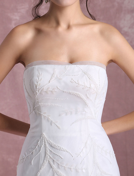 Milanoo Summer Wedding Dresses 2020 Tulle Bridal Dress Mermaid Leaf Vine Beading Strapless Backless Beach Bridal Gown With Chapel Train