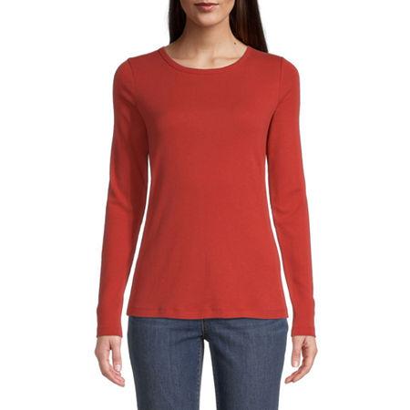 St. John's Bay-Womens Long Sleeve T-Shirt, Large , Orange