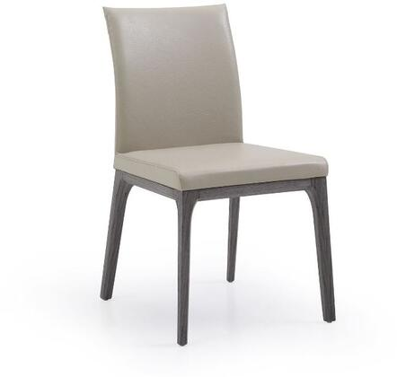 Stella Collection DC1454-GRY-TAU Dining Chair with Tall Backrest  Oak Wood Veneer Material  Solid Wood Construction  Tapered Legs and Faux Leather