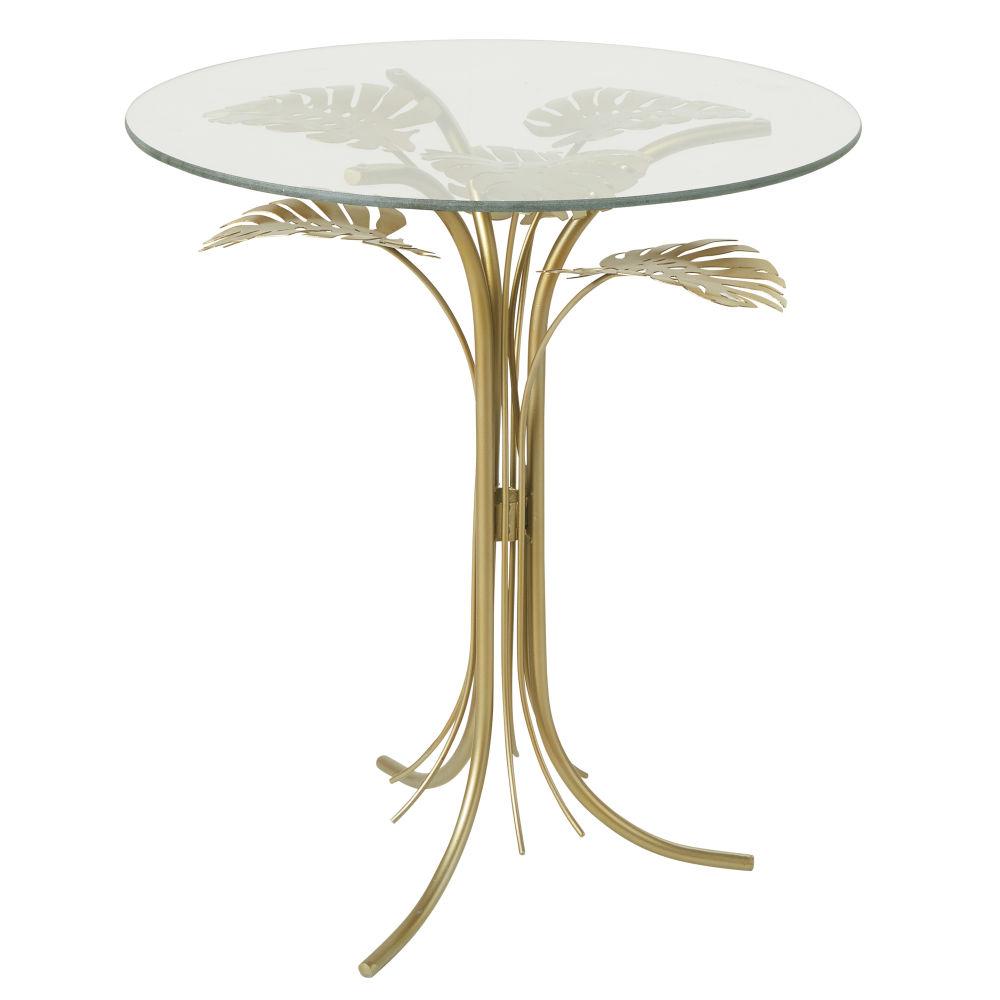 Beistelltisch aus Glas und Metall, goldfarben