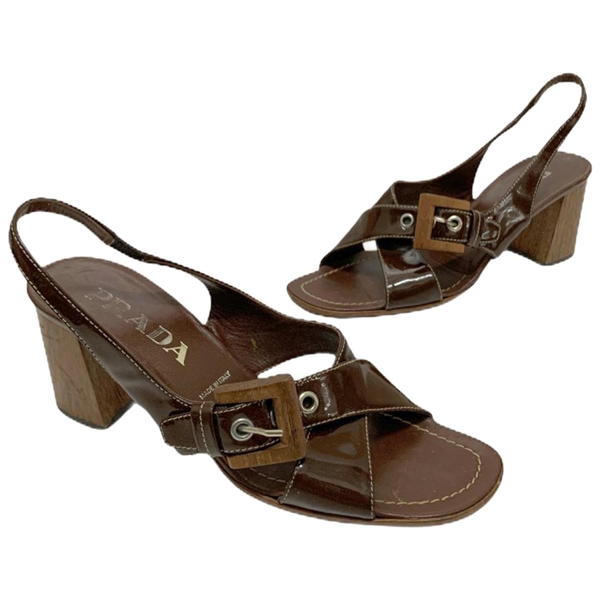Prada \N Brown Patent leather Sandals for Women 37 EU