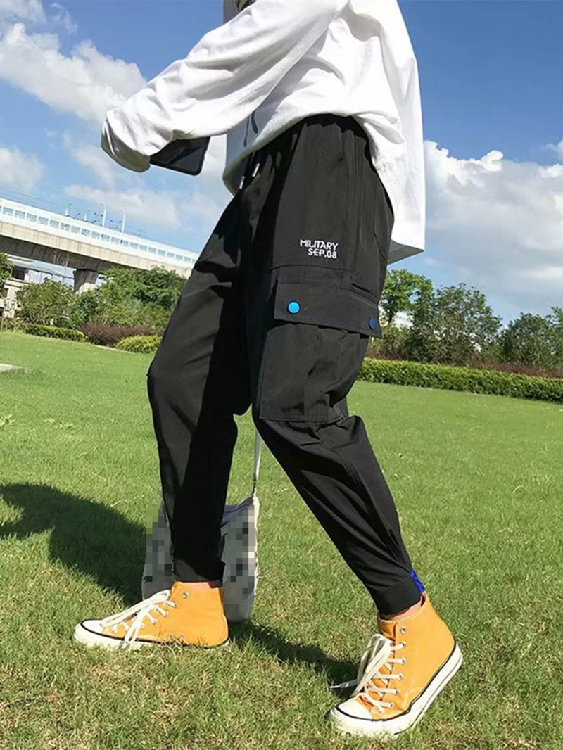Ericdress Overall Letter Pocket Men's Casual Pants