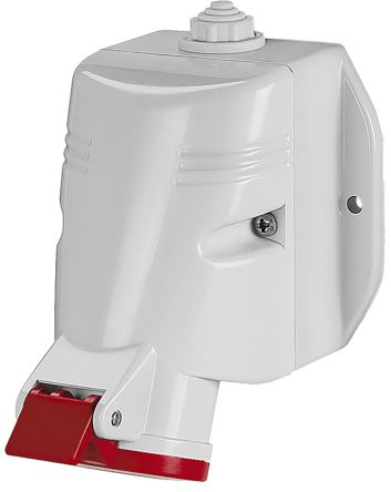 RS PRO IP44 Red Wall Mount 3P+E Industrial Power Socket, Rated At 32.0A, 415.0 V
