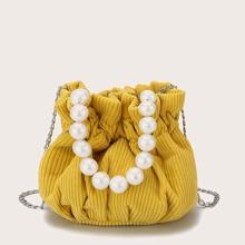Bolso cartera mini con perla artificial