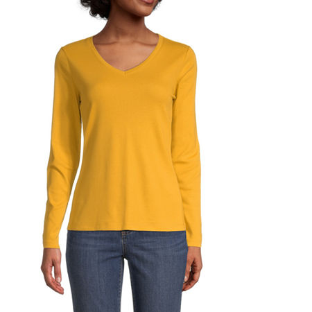 St. John's Bay-Womens Scoop Neck Long Sleeve T-Shirt, X-large , Yellow
