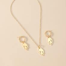 1pair Flame Hoop Earrings & 1pc Necklace