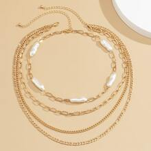 2pcs Faux Pearl Decor Layered Necklace