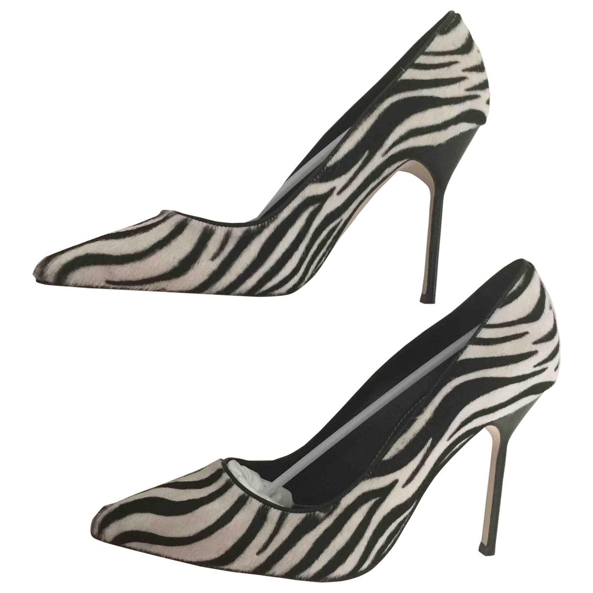 Manolo Blahnik \N Black Pony-style calfskin Heels for Women 38 EU