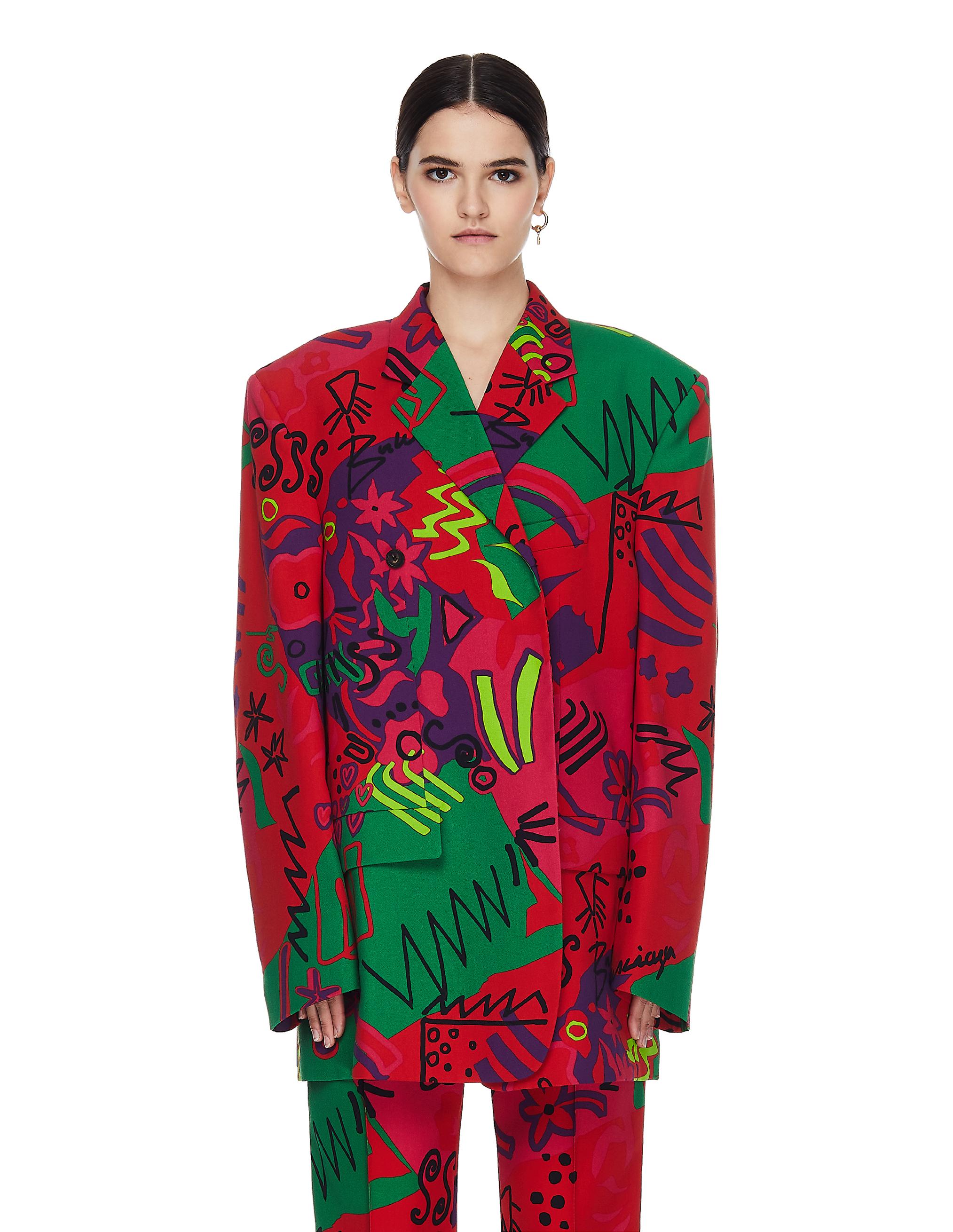 Balenciaga Abstract Printed Wool Jacket