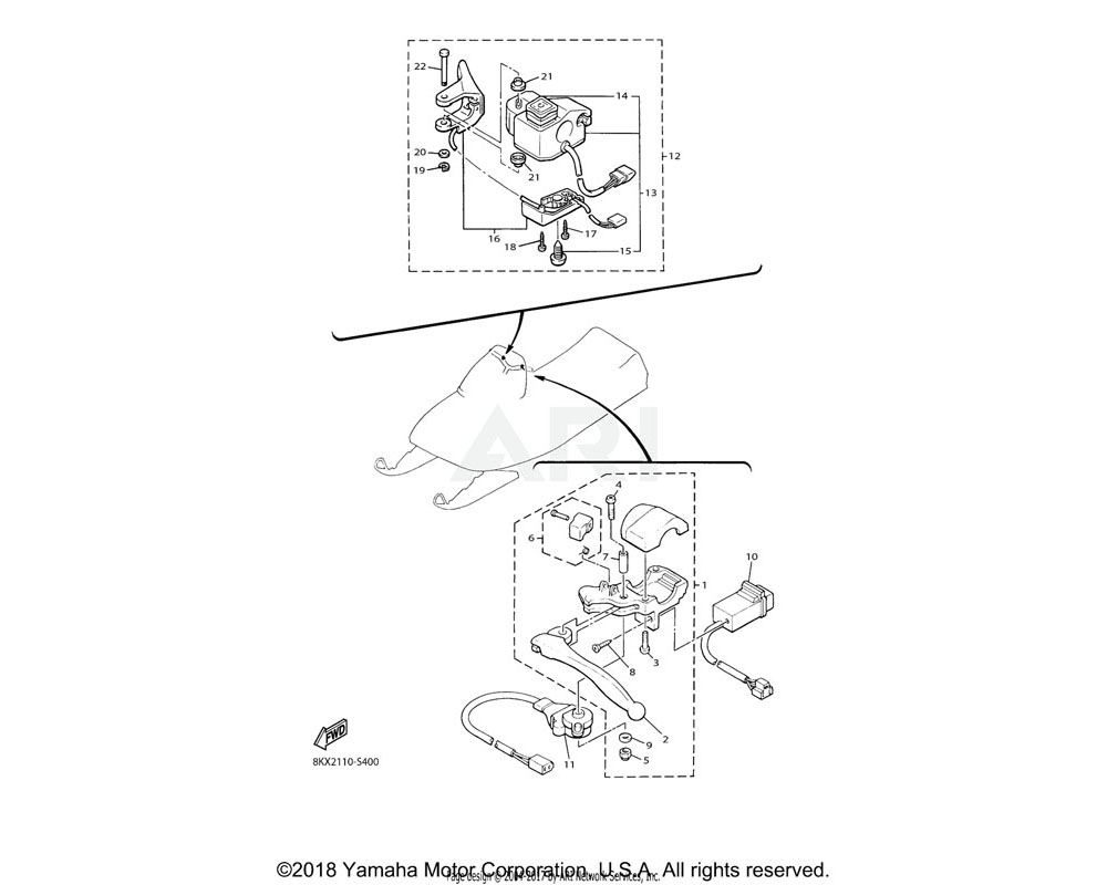 Yamaha OEM 8KX-82720-00-00 LEVER HOLDER ASSY (RIGHT)