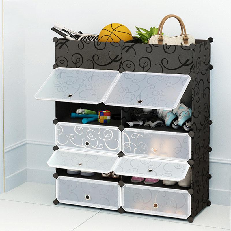 PP Plastic Black Block Shoe Cabinets Bedroom Storage Box