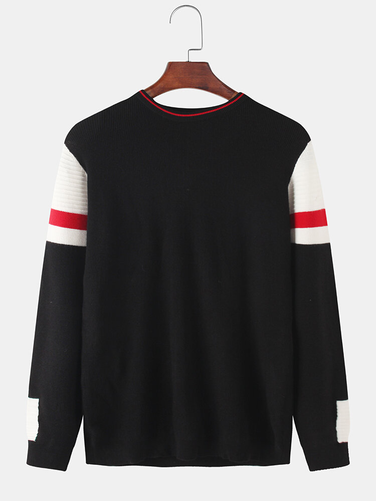 Mens Rib-Knit Patchwork Sleeve Crew Neck Casual Pullover Sweaters