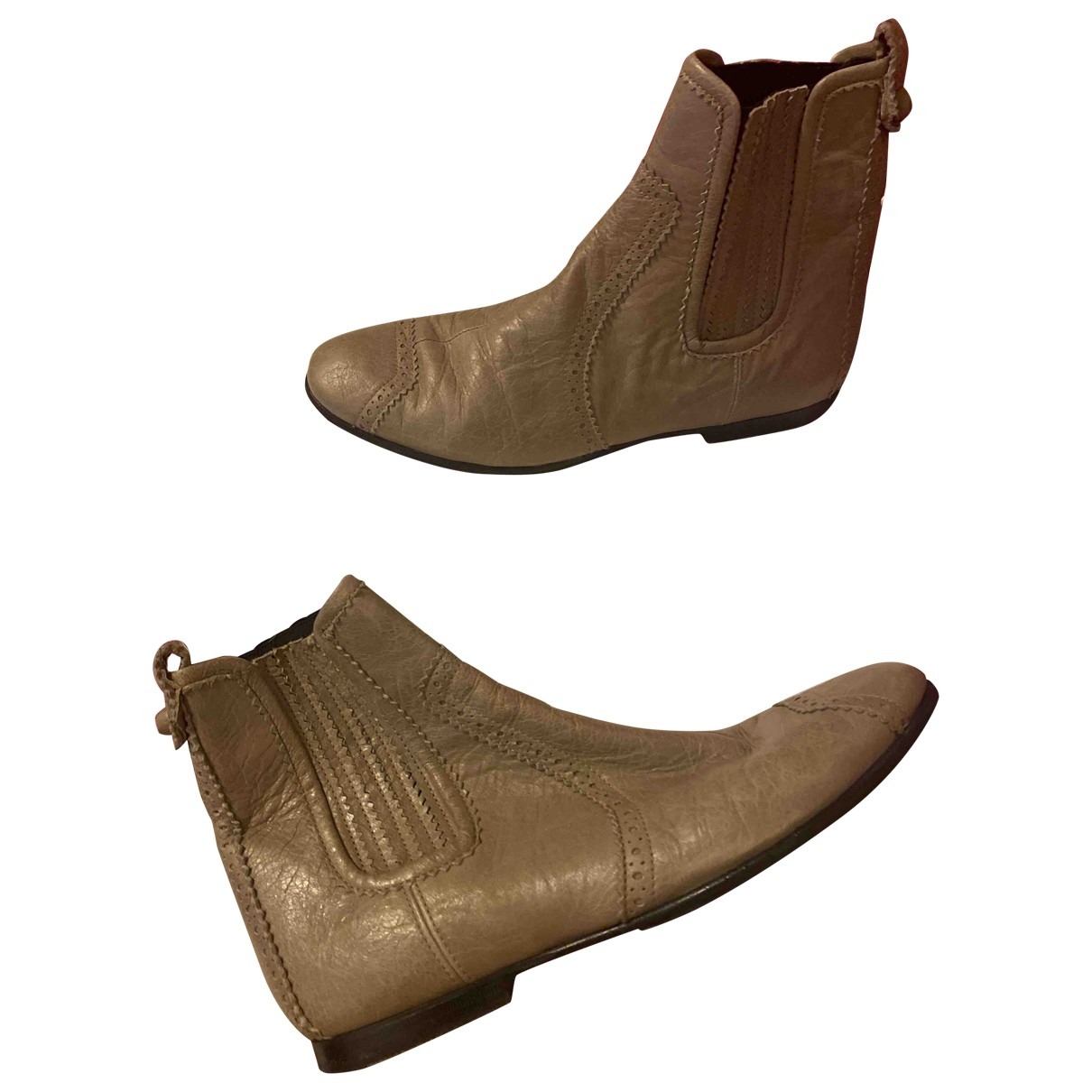 Balenciaga \N Grey Leather Ankle boots for Women 38.5 EU