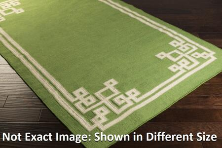 AMD1013-3353 33 x 53 Rectangular Alameda Reversible 100% Wool Rug with No Pile and Hand Woven in India in Lime  Ivory  and