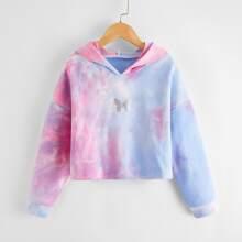 Capucha con estampado de tie dye y mariposa