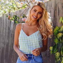 Button Front Crinkle Gingham Cami Top