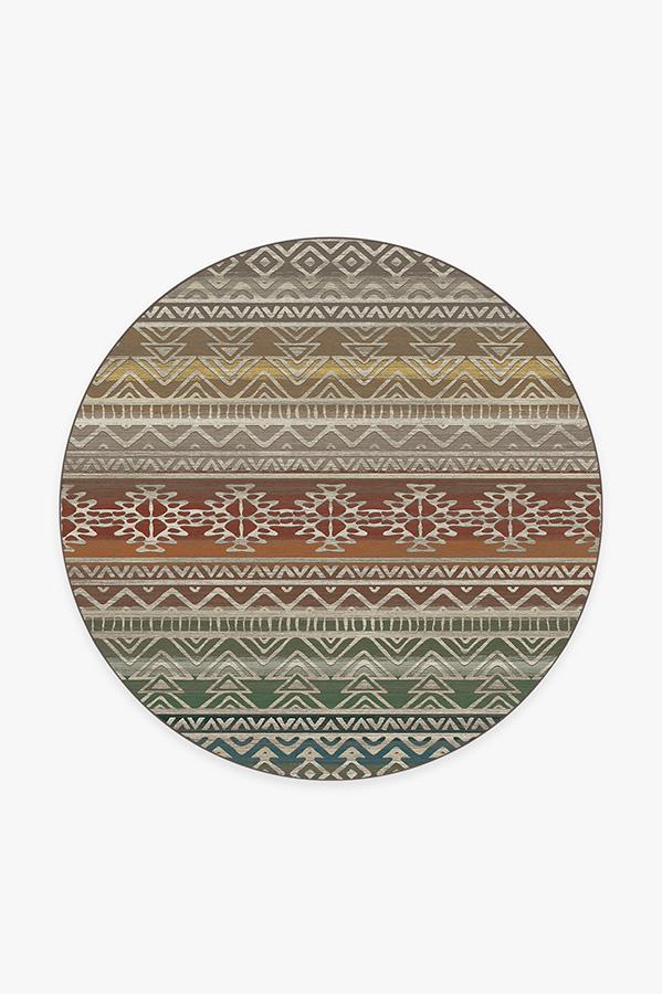 Washable Rug Cover & Pad | Linear Aztec Multicolor Rug | Stain-Resistant | Ruggable | 6' Round