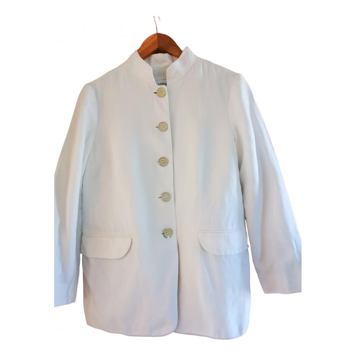 Armani Collezioni - Vestes.Blousons   pour homme en lin - blanc