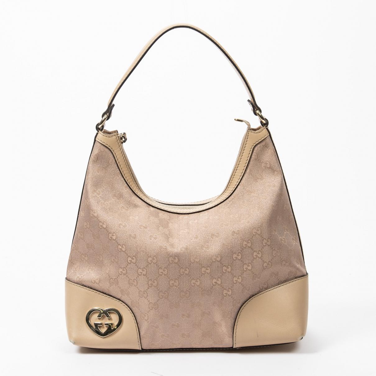 Gucci - Sac a main Interlocking pour femme en coton - marron