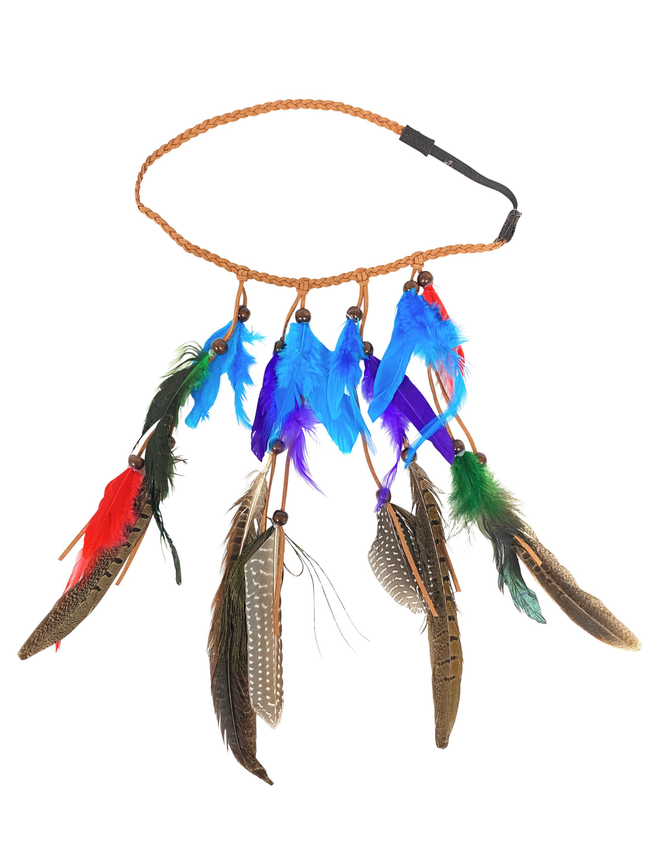 Kostuemzubehor Federstirnband bunt mit Fasanfedern und Pfauenfedern Farbe: multicolor bzw. bunt