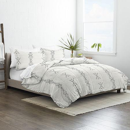 Ienjoy Home Urban Stitch 3pc Patterned Comforter Set Lightweight Hypoallergenic Comforter, One Size , Gray