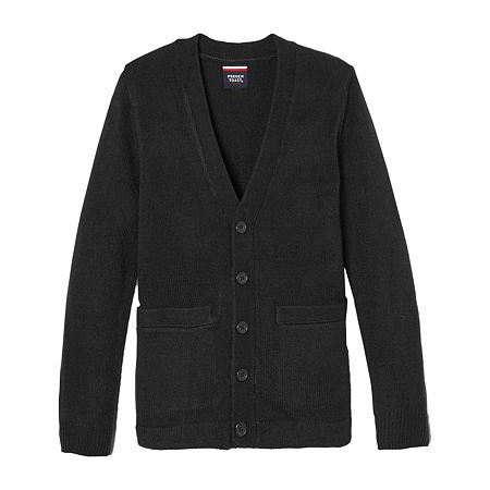 French Toast Little & Big Boys V Neck Long Sleeve Button Cardigan, Large , Black