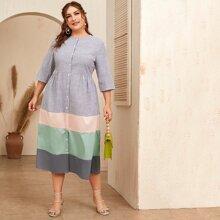 Plus Button Front Striped Colorblock Dress