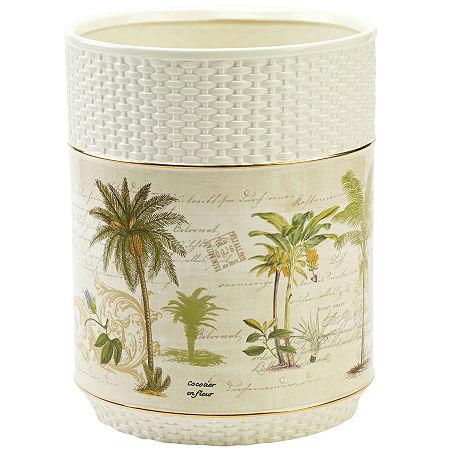 Avanti Colony Palm Wastebasket, One Size , White