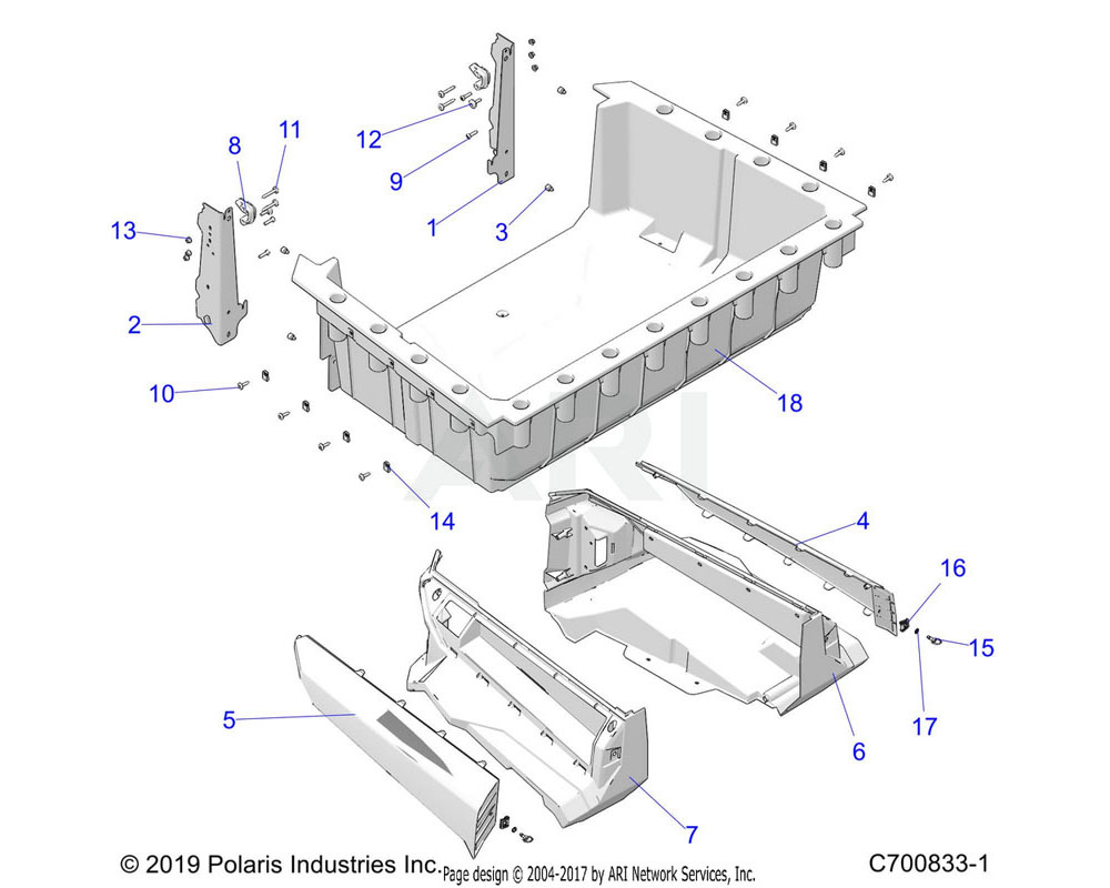 Polaris OEM 5452455-726 PANEL-BOX, PNT, LH, M.NVY BLUE | [AP][BP]