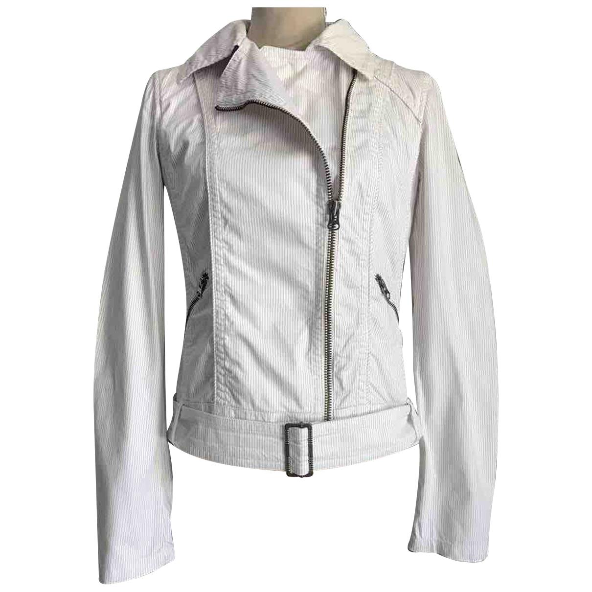 Zara - Blouson   pour femme en coton - blanc